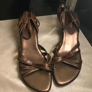 Nine West Dark Brown Faux Leather Wedge Sandals